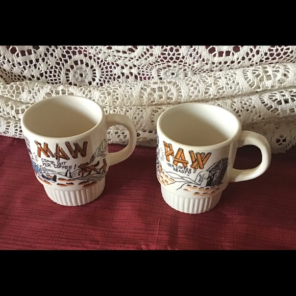 Vintage 1940s Maw & Paw Coffee Cups